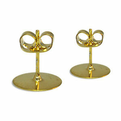20 X 10Mm Earring Studs Ear Post With Clutch Gold Plate