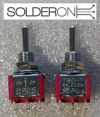 2pcs Mini Toggle Switch DPDT Centre Off Solder Tail - SALECOM S1365