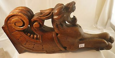 antique  carved wood   oak lion paw chimera  N°3