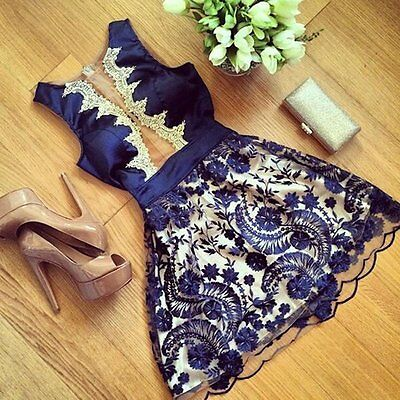 Fashion Women's Floral Lace Sleeveless Cocktail Evening Party Casual Mini Dress