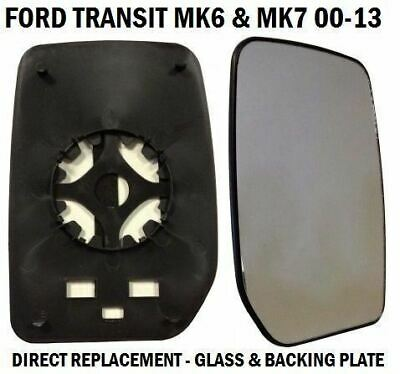 Front Door Wing Mirror Glass Ford Transit Mk6 Mk7 2000-2014 Drivers Right Side
