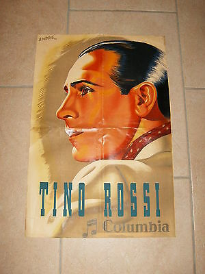 Belle ancienne affiche / vintage poster - TINO ROSSI - COLUMBIA - ANDRÉ 1941