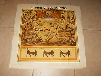 Ancienne affiche (vintage poster) LA MINE ET SES DANGERS charbon, coal - 1931