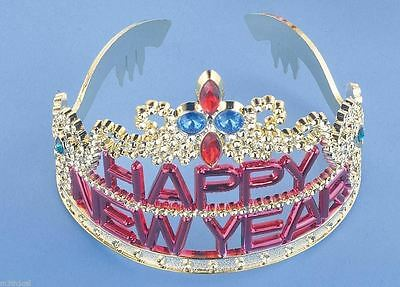 Silver Plastic Happy New Year Tiara w/ Colored Jewels Party Crown Accessory NEW