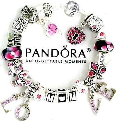 Authentic Pandora Bracelet Silver MOM WIFE Pink Black with European Charms New
