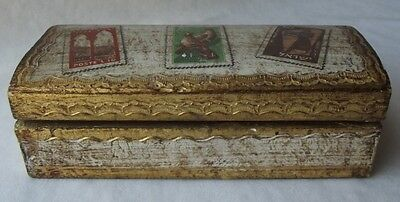 "Vintage Hand Made Italian Gold Gilt Florentine Toleware Stamp Box 6"" L"
