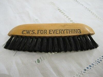 ANTIQUE TREEN ADVERTISING BRUSH - Co-op Society CWS
