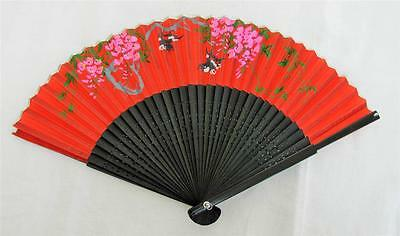 JAPANESE PIERCED WOOD & PAINTED FABRIC FAN - BLOSSOM & MAGPIES c1990's