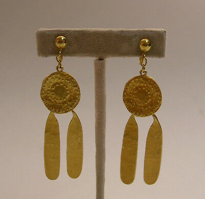 Vintage Alva Museum Replicas Earrings - Ancient Ethnic Golden Screwback Drops