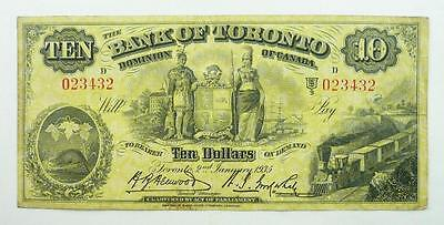 Canada 1935 The Bank of Toronto $10 / Ten Dollars Banknote - Yellow Issue
