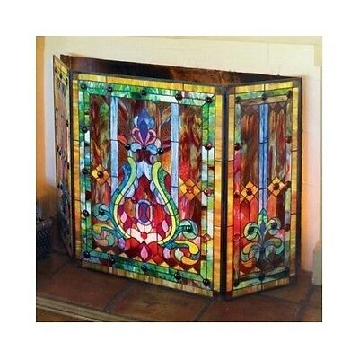Fireplace Screen Stained Glass Folding 3-Panel Door Tools Victorian Style Decor