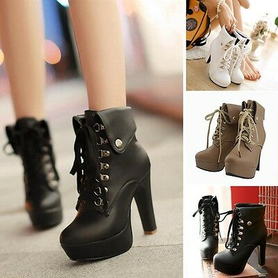 Women's Lace-up Shoes High Heel Platform Pumps Ankle Boots Faux Leather Booties