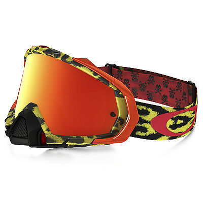 Oakley NEW Mx Mayhem PRO Cheetah Yellow Iridium Fire Tinted Motocross Goggles