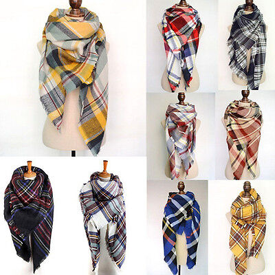 Women Oversized Checked Plaid Scarf Shawl Stole Warm Tartan Wrap Large Pashmina