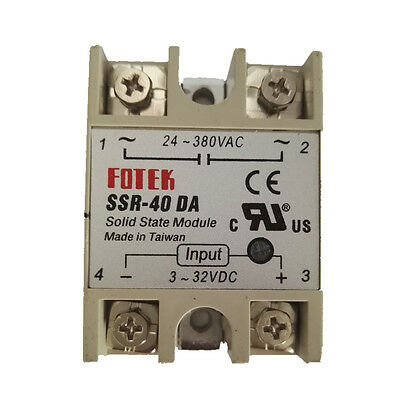 New DC-AC SSR-40DA 40A Input 3-32V DC and  Output 24-380V AC Solid State Relay