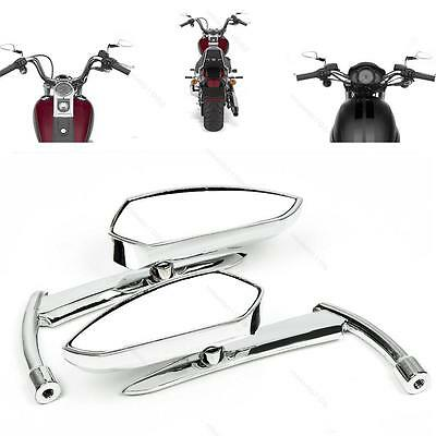 Custom Motorcycle Chrome Billet Rearview Side Mirrors Cruiser #H Universal Bolts