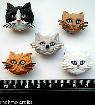 CATS FACES Craft Buttons Fuzzy Feline Novelty Animals Pets Kittens Baby Plastic