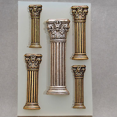 Classical Columns Silicone Flexible Push Mold Polymer Clay Fimo Mould Bakeable