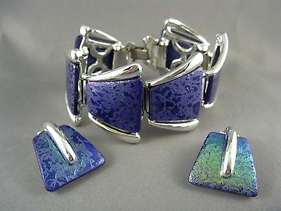 OUTRAGEOUSLY VIBRANT! Vtg Metallic Iridescent Blue Lucite Bracelet Earrings Set