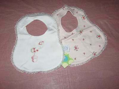 NWT Gymboree Garden Dreams Floral Embroidered Reversible Bib
