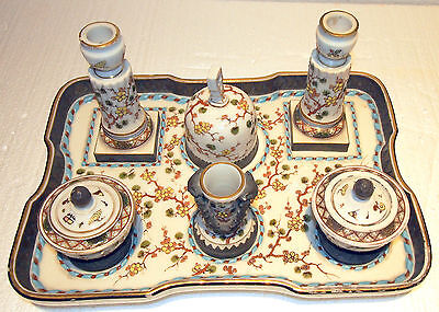 19 C Desk Set 9 Pc With Tray Porcelain,enamel Hand-Painted Very Rare Flowers