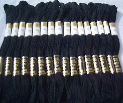 24 Black Anchor Embroidery Cross Stitch Threads Floss/skeins Strandard Quality