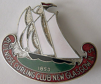 Antique 1853 Bluenose Curling Club Enamel Pin With Racing Sloop Full Sail N.s.