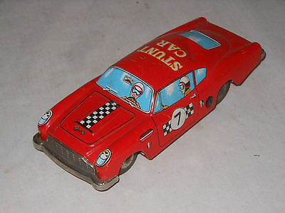 Aston Martin Blech Stunt Car - Vintage Tin Toy Tinplate - Japan