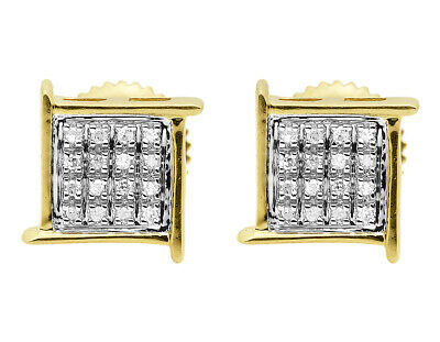 Mens Ladies Yellow Gold Finish Round Pave Diamond Studs Earrings 7mm 1/20 ct