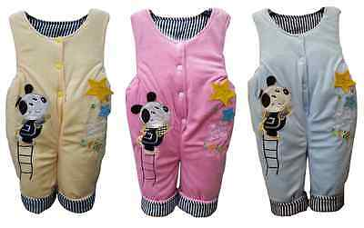 baby boy girl unisex quilted dungarees overall pramsuit 3-6 6-9 9-12 months