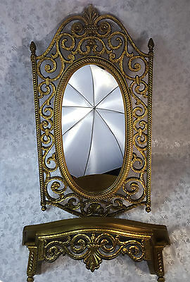 "31 x 17"" Ornate Syroco Oval Wall Mirror & Wall Shelf Hall Hollywood Regency 1969"