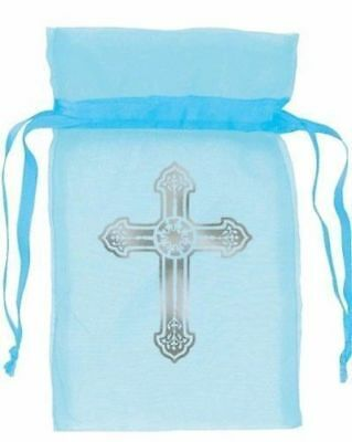 Blue Cross Religious Party Communion Baptism Christening Organza Bags New
