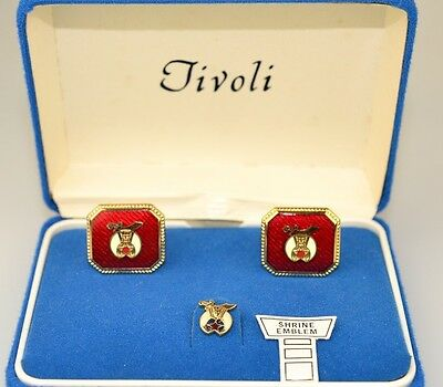 Vintage Tivoli Shriners Red Enamel Cufflinks & Tie Tack Set In Original Box