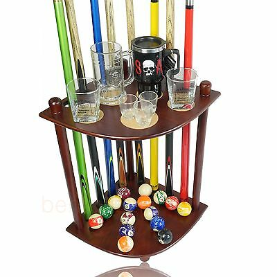 Quality Brown CORNER CUE STAND Pool Snooker Billiards Man Cave
