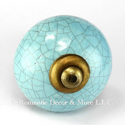 Blue Ceramic Knobs Antique Brass Drawer Pulls Modern Cabinet Handles #C13- Lot/8