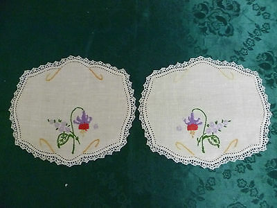 Pair Of Vintage Hand Embroidered Small Doilies Floral With White Crocheted Edge