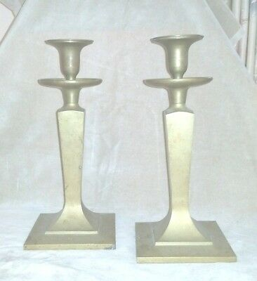 Antique Brass Arts & Crafts Mission Eames Style Candleholders