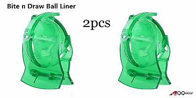 """A99 Golf Bite 'N Draw"""" Ball Liner Ball Line Liner Marker Template Drawing 2pcs"""