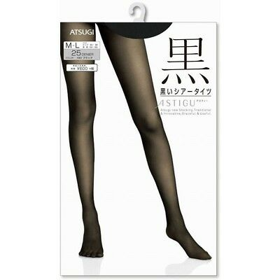 "ATSUGI ASTIGU Pantyhose Stockings Tights 黒 ""Black"" Sheer Black 25 Denier Japan"