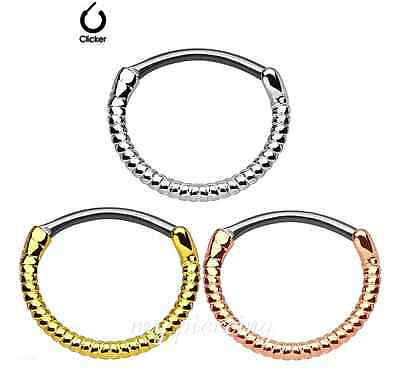 "Twisted Roped Line Round IP 316L Steel Shaft Brass Septum Clicker 16g-3/8"" - 1PC"