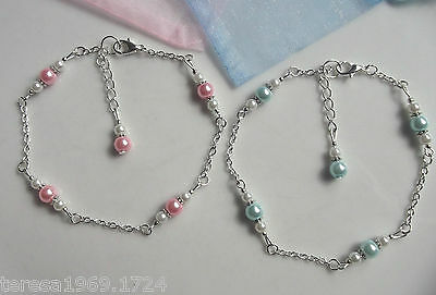 Hand made silver plated chain glass pearl anklet ankle bracelet pink or blue