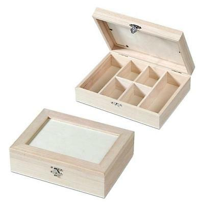 Knorr Prandell 21x16cm Bare Wood Box - 6 Compartments #423