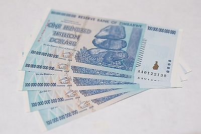 5 x 100 Trillion Dollars zimbabwe UNC 2008 series AA - 1/20 bundle - trillions
