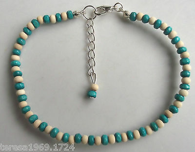 Hand made stretch wooden beaded anklet ankle bracelet natural turquoise