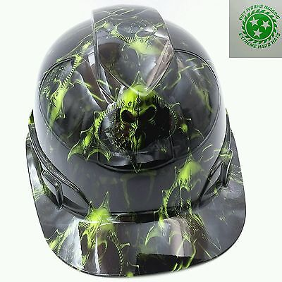 Hard Hat custom hydro dipped , OSHA approved HELL RAISER SKULLS HI VIS GREEN