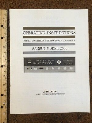 "Sansui 2000 Stereo Receiver ""Original Vintage"" Owners Manual 18 Pages Very Rare"