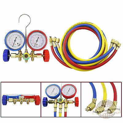 HVAC R12 R22 R502 Manifold Gauge Kit Refrigeration Charging 5ft Hose pap05