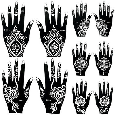 Henna Black Flower Lace Waterproof Temporary Tattoo for Women Body Art Stickers