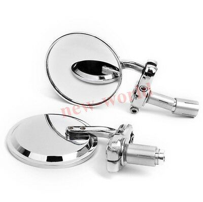 """Motorcycle 3"""" Round Handle Bar End 7/8"""" Mirrors Cafe Racer Bobber Clubman Chrome"""