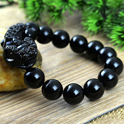 Authentic 5A Grade Natural Obsidian Pi Yao/ Pi Xiu Feng Shui Bracelet 16 Beads